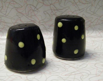Salt and Pepper Shakers with yellow dots