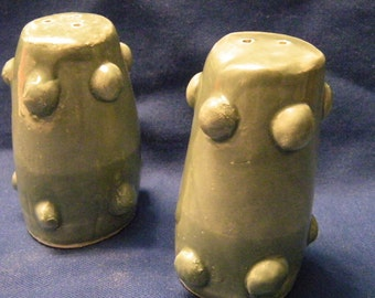Greenish Salt and Pepper Shakers with Bumps