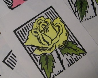 Yellow Rose, Block Print