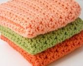 Crochet Dishcloths Kitchen Handmade Cotton Bright Pumpkin Orange, Peach, Country Green Set of 3