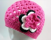 Crochet Hat Beanie Hot Pink with Flowers Toddler Child Teen or YOU PICK COLORS