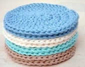 Face Scrubbies Crochet Face Cloths Washcloths Beach Colors Cotton Handmade Makeup Remover Pads Set of 8