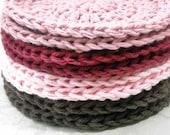 Crochet Makeup Remover Pads Face Cloths Cotton Washcloths Set of 8 Pink, Mauve, Chocolate Brown, Burgundy