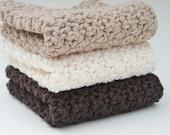 Crochet Kitchen Dishcloths Cotton Washcloths Chocolate Brown, Taupe & Cream Set of 3 Handmade