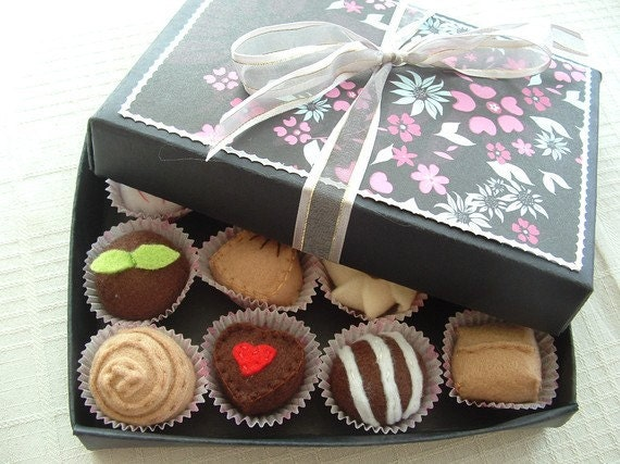 Made To Order - Felt Food - Box of Chocolate Truffles For The One You Love XOXO