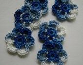 Mini Six Crocheted Flowers - Shades of Blue - Cotton Embellishments - Cotton Appliques - Set of 6