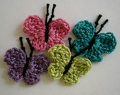 Crocheted Butterflies - Rose, Teal, Plum and Lime Green - Cotton Embellishments - Cotton Appliques - Set of 4