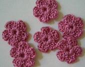 Crocheted Flowers - Cotton - Rose Pink Forget-Me-Nots - Crocheted Appliques - Crocheted Embellishments - Set of 6