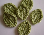 Crocheted Leaves - Wool Blend - Green Sheen - Leaf Appliques - Leaf Embellishments - Set of 6