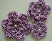 Crocheted Flowers - Lilac With a Pearl - Cotton - Crocheted Appliques - Crocheted Embellishments