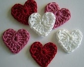 Crocheted Hearts - Red, Pink and White - Cotton Hearts - Crocheted Heart Embellishments - Crocheted Heart Appliques - Set of 6