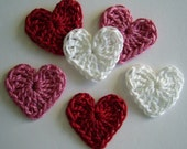 Crocheted Hearts - Red, Pink and White - Cotton - Crocheted Embellishments - Crocheted Appliques - Set of 6