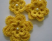 Yellow Crocheted Flowers - Bright Yellow With a Pearl - Cotton Embellishments - Crocheted Appliques - Crocheted Embellishments