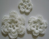 Crocheted Flowers - White With a Pearl - Cotton - Crocheted Embellishment - Crocheted Applique