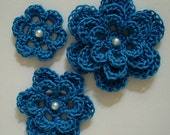 Crocheted Flowers - Blue Hawaii With a Pearl