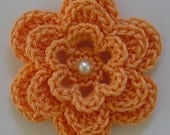 Crocheted Flower - Tangerine with Pearl - Orange Applique - Orange Embellishment