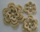Crocheted Flowers - Ecru With a Pearl - Cotton - Crocheted Appliques - Croceted Embellishments