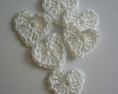 Crocheted Hearts - White - Cotton - Set of 6 - Crocheted Heart Appliques - Crocheted Heart Embellishments