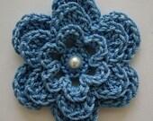 Crocheted Flower - Blue with Pearl - Cotton Applique - Cotton Embellishment - Flower Applique