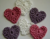 Crocheted Hearts - Pink, Plum and White - Cotton - Crocheted Appliques - Crocheted Embellishments