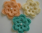 Trio of Crocheted Flowers - Peach, Cream and Aqua with Pearl - Cotton - Crocheted Appliques - Crocheted Embellishments