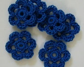 Crocheted Flowers - Royal Blue - Cotton Flowers - Crocheted Flower Embellishments - Crocheted Flower Appliques - Set of 6