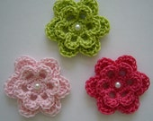 Trio of Crocheted Flowers - Lime Green, Pink and Hot Pink with Pearl - Cotton - Crocheted Applieques - Crocheted Embelishments