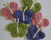Crocheted Butterflies - Pink, Lilac and Green - Bamboo Yarn - Crocheted Embellishments - Crocheted Appliques