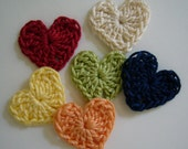 Crocheted Hearts - Ecru, Navy Blue, Lime Green, Tangerine, Yellow, Red - Cotton - Crocheted Appliques - Crocheted Embellishments