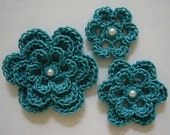 Crocheted Flowers - Teal With a Pearl - Cotton - Crocheted Appliques - Crocheted Embellishments