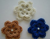 Trio of Crocheted Flowers - Antique White, Royal Blue and Copper with Pearl - Cotton