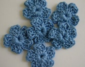 Crocheted Flowers - Blue - Cotton