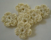 Crocheted Flowers - Cream - Wool Blend - Forget-Me-Nots - Crocheted Flower Appliques - Crocheted Flower Embellishments - Set of 6