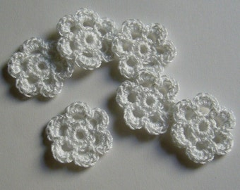 Mini Six Crocheted Flowers - White - Cotton - Set of 6 - Crocheted Appliques - Crocheted Embellishments