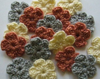 Crocheted Flowers - Silver, Coral and Cream - Wool - Forget-Me-Nots - CFW-15