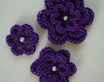 Crocheted Flowers - Purple with a Pearl - Cotton - Crocheted Embellishment - Crocheted Applique