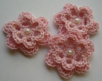 Pink Crocheted Flowers - Pink with Pearl - Cotton Flowers - Crocheted Flower Appliques - Crocheted Flower Embellishments - Set of 3
