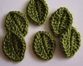 Crocheted Leaves - Foliage - Wool Leaves - Crocheted Leaf Appliques - Crocheted Leaf Embellishments - Set of 6