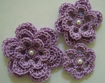 Crocheted Flowers - Lilac With a Pearl - Cotton Flowers - Crocheted Flower Appliques - Crocheted Flower Embellishments