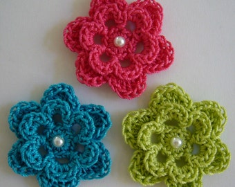 Trio of Crocheted Flowers - Hot Pink, Parakeet Blue and Lime Green with Pearl - Cotton - Crocheted Embellishments - Crocheted Appliques
