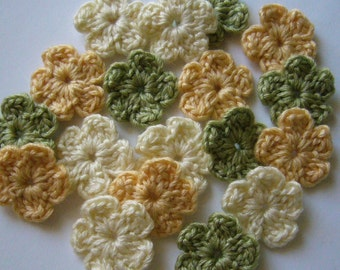 Crocheted Flowers - Yellow, Green and Cream - Wool - Forget-Me-Nots - Set of 6