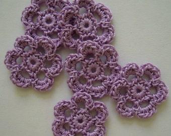 Mini Six Crocheted Flowers - Lilac - Cotton Flowers - Crocheted Flower Appliques - Crocheted Flower Embellishments - Set of 6
