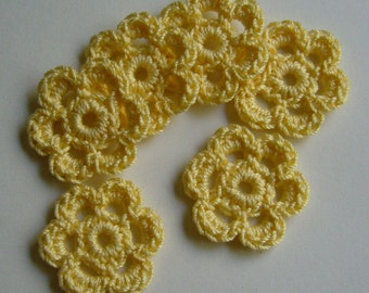 Yellow Crocheted Flowers - Cotton Appliques - Cotton Embellishments - Crocheted Appliques - Crocheted Embellishments - Set of 6