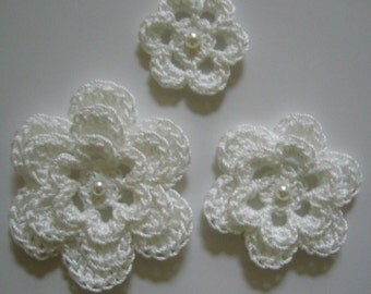 Crocheted Flowers - White With a Pearl - Cotton Flowers - Crocheted Flower Embellishments - Crocheted Flower Appliques