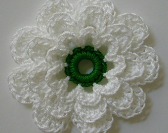 Crocheted Flower - White with Myrtle Green - Crocheted Flower Applique - Crocheted Flower Embellishment