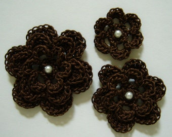 Crocheted Flowers - Fudge Brown with a Pearl - Cotton Flowers - Crocheted Flower Appliques - Crocheted Flower Embellishments