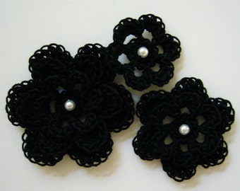 Crocheted Flowers - Black With a Pearl - Cotton Flowers - Crocheted Flower Appliques - Crocheted Flower Embellishments