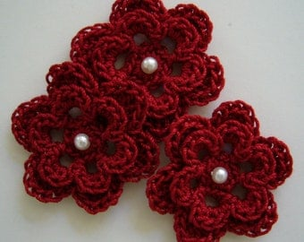 Trio of Crocheted Flowers - Cardinal Red with Pearl - Cotton
