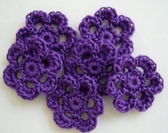 Purple Mini Six Crocheted Flowers - Cotton Flowers - Crocheted Flower Appliques - Crocheted Flower Embellishments