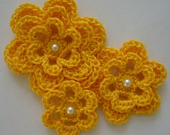 Crocheted Flowers - Goldenrod With a Pearl - Cotton Flowers - Crocheted Appliques - Crocheted Embellishments